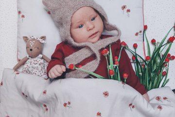 Pościel niemowlęca goździki beżowa